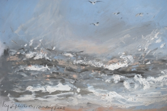Icy-afternoon-roaring-seas-mixed-media-on-paper