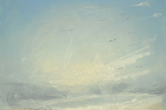 Spring-morning-gulls-soar-pastel-on-paper
