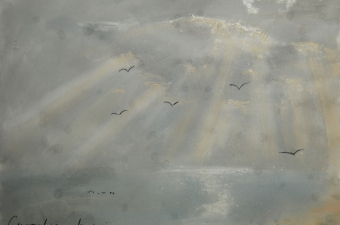 Crepuscular rays, autumn morning - pastel on paper