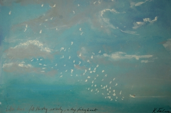 Little terns fill the sky noisily - pastel on paper