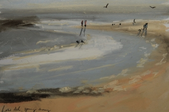 Low tide, spring morning - pastel on paper
