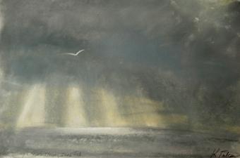 Rain sweeps across stormy seas - pastel on paper