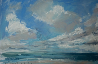 Wild and windy, clouds whizz - pastel on paper